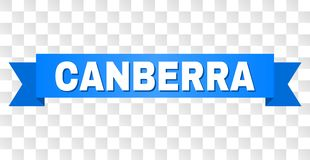 Blue Tape with CANBERRA Title. CANBERRA text on a ribbon. Designed with white caption and blue tape. Vector banner with CANBERRA tag on a transparent background stock illustration