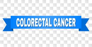 Blue Tape with COLORECTAL CANCER Title. COLORECTAL CANCER text on a ribbon. Designed with white caption and blue stripe. Vector banner with COLORECTAL CANCER tag royalty free illustration