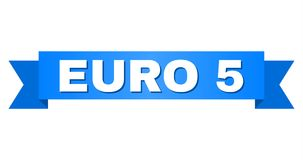 Blue Tape with EURO 5 Text. EURO 5 text on a ribbon. Designed with white caption and blue tape. Vector banner with EURO 5 tag stock illustration