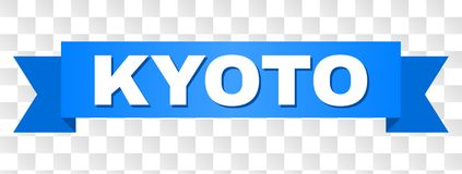 Blue Tape with KYOTO Title. KYOTO text on a ribbon. Designed with white caption and blue stripe. Vector banner with KYOTO tag on a transparent background vector illustration