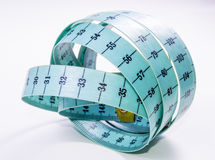 Blue tape measure. On white background Stock Photography