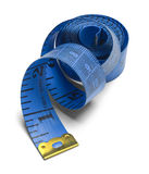 Blue Tape Measure. Blue Spiral Sewing Tape Measure Isolated on a White Background Royalty Free Stock Images