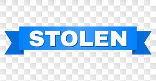 Blue Tape with STOLEN Caption. STOLEN text on a ribbon. Designed with white caption and blue stripe. Vector banner with STOLEN tag on a transparent background stock illustration