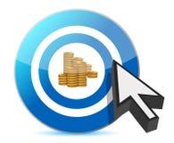 Blue target golden dollar coins Stock Photo