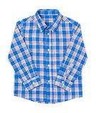 Blue tartan shirt folded on white background. Blue tartan shirt folded on white background Royalty Free Stock Photo