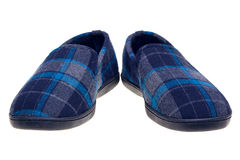 Blue tartan slippers isolated on white. Photo of blue tartan slippers isolated on a white background Stock Images