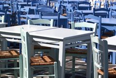 Blue taverna chairs royalty free stock image