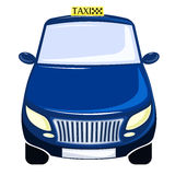 Blue taxi. The car is a front view. Isolated on white. Royalty Free Stock Images