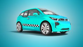 Blue taxi electric car isolated 3d render on blue background wit. H shadow stock illustration