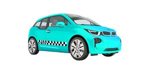 Blue taxi electric car isolated 3d render on white background no. Shadow royalty free illustration