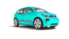 Blue taxi electric car isolated 3d render on white background wi. Th shadow stock illustration