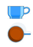 Blue tea cup. Vector illustration isolated on white background Stock Photo