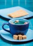 Blue tea cup Stock Images