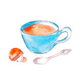 Blue Tea cup with cookie and a spoon watercolor illustration Stock Photos