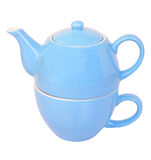 Blue tea cup and pot Royalty Free Stock Photo