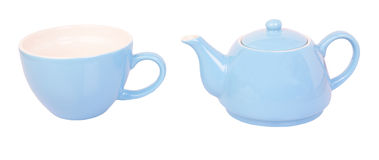 Blue tea cup and pot Stock Image
