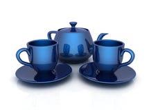 Blue tea cups with teapot on white Stock Photos