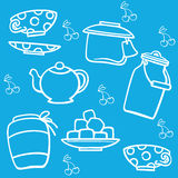 Blue tea-pattern. Blue pattern with tea cup, teapot, jam and other Stock Images