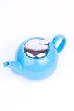 Blue tea-pot. One blue tea-pot on white background Royalty Free Stock Photography