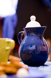 Blue tea pot Stock Photos
