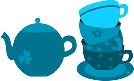 Blue tea pot and four cups on plate Stock Photo