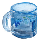 Blue tea watercolor Royalty Free Stock Images