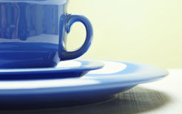 Blue teacup and plate Royalty Free Stock Photos