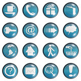 Blue Teal Glass Website Button Stock Image