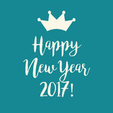 Blue teal Happy New Year 2017 greeting card with a crown. Cute simple blue teal Happy New Year 2017 greeting card with a crown Stock Image