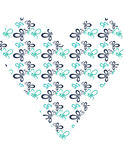 Blue and teal heart butterfly shape Royalty Free Stock Images
