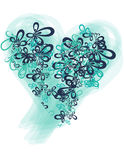 Blue and teal heart butterfly shape Stock Images