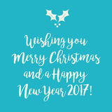 Blue teal Merry Christmas and Happy New Year greeting card with Royalty Free Stock Photos