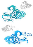 Blue and teal ocean waves icons Stock Photo