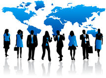 Blue team. Illustration of blue team and map Royalty Free Stock Images