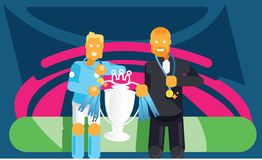 Blue team soccer player and coach celebrate with trophy. Blue team soccer player and coach celebrate with champion trophy and golden coin vector illustration Royalty Free Stock Image
