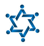 Blue teamwork star logo. Icon vector Stock Photo