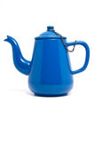 Blue Teapot. Side shot of a an old blue enameled teapot Stock Image
