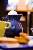 Blue teapot Stock Images