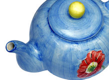 Blue Teapot. With red flower Stock Images