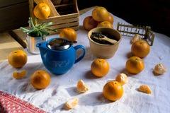 Blue teapot,  tea and mandarin Royalty Free Stock Photos