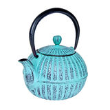 Blue teapot isolated on white Stock Photo