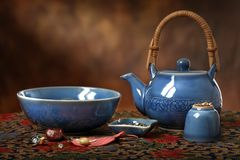 Blue Teapot Still Life Stock Image