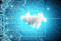 Blue tech backdrop with cloud. Abstract blue tech board backdrop with cloud. Computing concept. 3D Rendering Stock Photos
