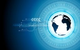 Blue tech background with globe and binary code. Vector graphic technology design Stock Image