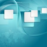 Blue tech background with squares, waves and map Stock Photos