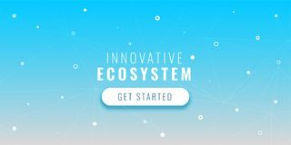 Blue tech banner with dots and connected lines. Vector royalty free illustration