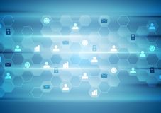 Blue tech communication abstract background Stock Photos