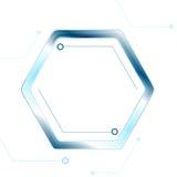 Blue tech hexagon on white background Stock Photos