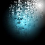 Blue tech squares dark background Stock Photos