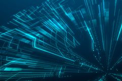 Blue techno background. 3D rendering By After Effect, blue background Royalty Free Stock Photos